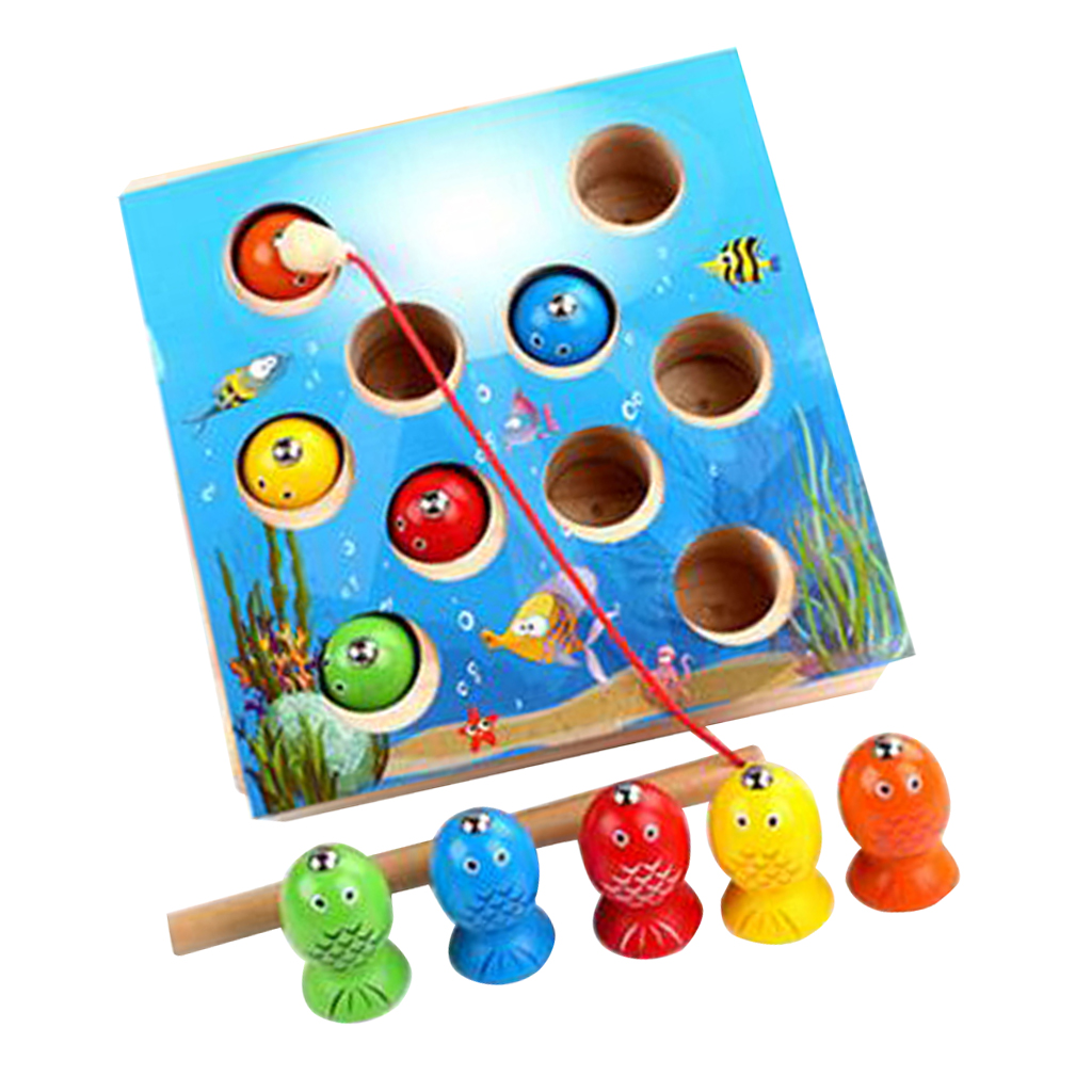 Magnetic Wooden Fishing Game Toy for Toddlers - Alphabet Fish Catching Counting Preschool Board Games Toys