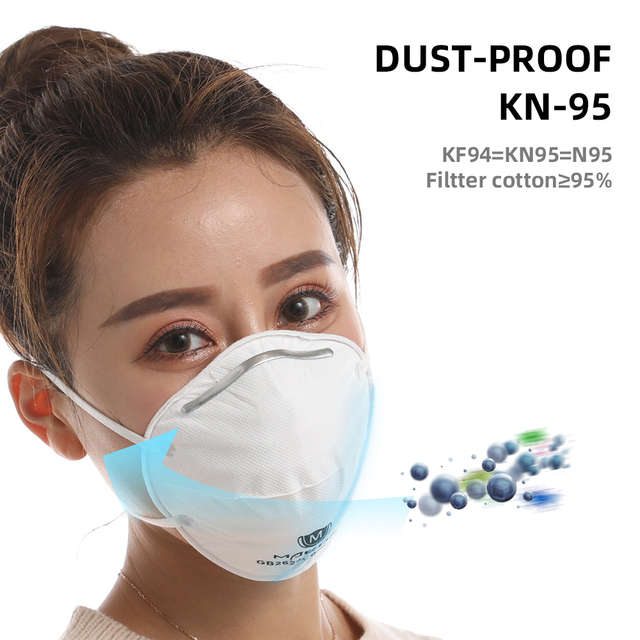 5/10pcs KN95 Cup Mask  Flu Face Mask White PM2.5/N95 5 Layer Adjustable Strip Dust Outdoor Breathable Facial Non Woven Masks