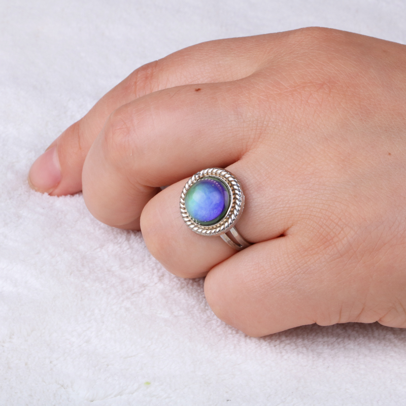 Silver color retro Adjustable mood Rings for Women temperature control color heart oval round butterfly  Fashion Jewelry 2020 3