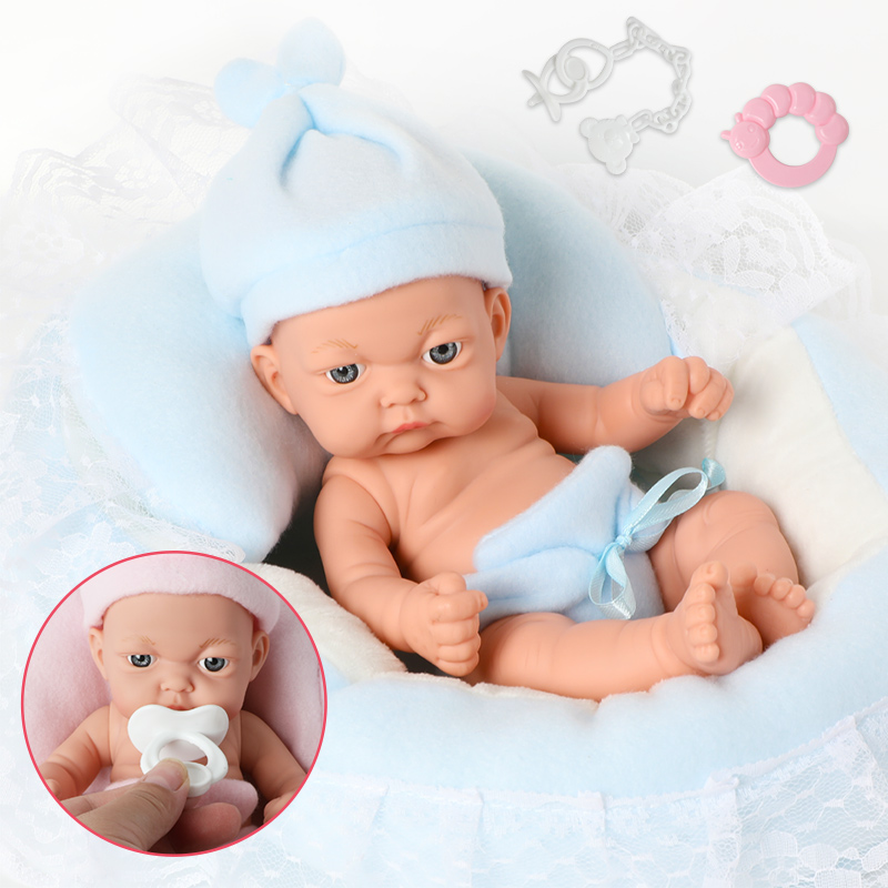 10 Inch Simulation Newborn Bebe Reborn Silicone 26cm Baby Doll  Nipple Handbell Set For Toys Children Gifts