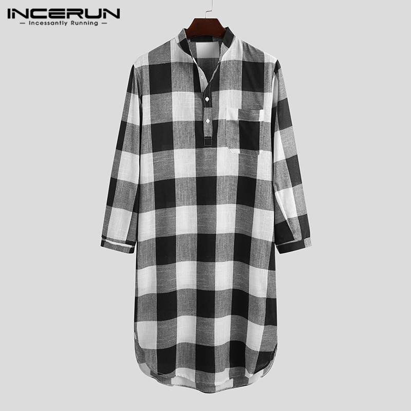 INCERUN Men Plaid Robes Sleepwear Long Sleeve Stand Collar Homewear Cotton Fashion Bathrobes 2021 Leisure Mens Nightgown S-5XL