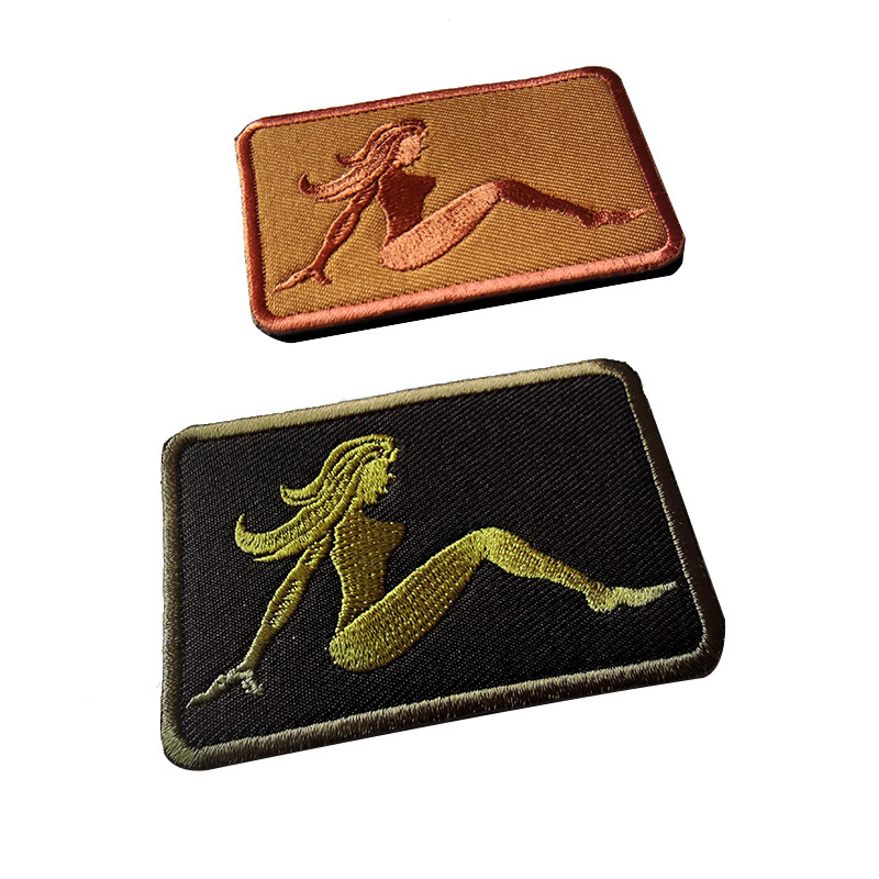 T-N Hot <font><b>Sexy</b></font> Beauty Woman Embroidery Velcro Patches Good <font><b>Figure</b></font> Outdoor Backpack Hat Badge Clothes Decoration Appliques Stickers image