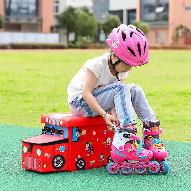 Skates Children Storage Chair Storage Stool Oxford Cloth Creative Roller Skates Automobile Storage Box Stool Changing His Shoes