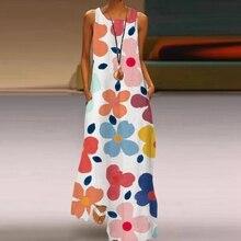 Elegant Flower Butterflu Printed Long Dress Sleeveless O Neck Women Sexy