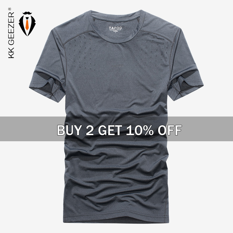 Hombres camiseta 2020 de verano de los hombres T camisa manga corta cuello de secado rápido camiseta de alta calidad de corte Slim Casual de marca camiseta|Camisetas|   - AliExpress