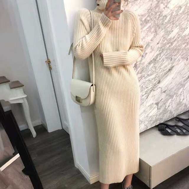 Turtleneck knitted sweater dress ladies fall winter elastic cashmere bottoming shirt midlength over the knee thick sweater dress 5