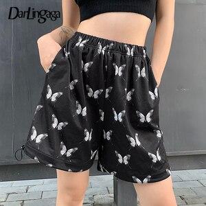 Женские эластичные шорты Darlingaga, повседневные свободные летние шорты на завязках с высокой талией и принтом бабочки, 2020
