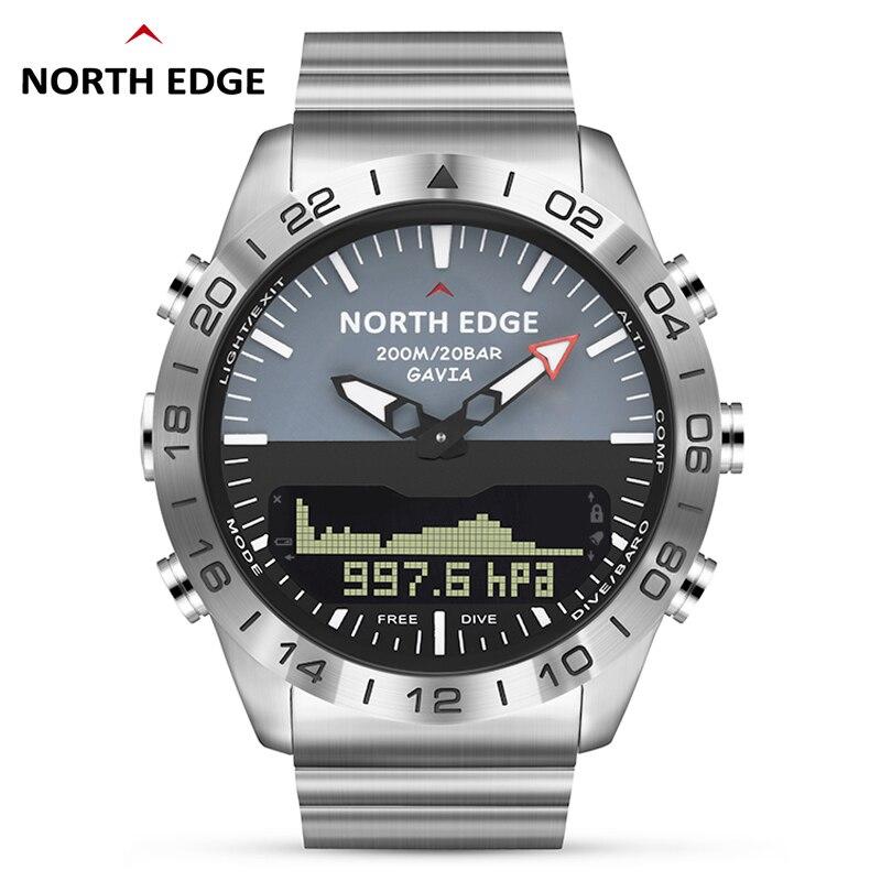 Hommes plongée sport montre numérique hommes montres armée militaire de luxe en acier affaires étanche 200m altimètre boussole bord nord