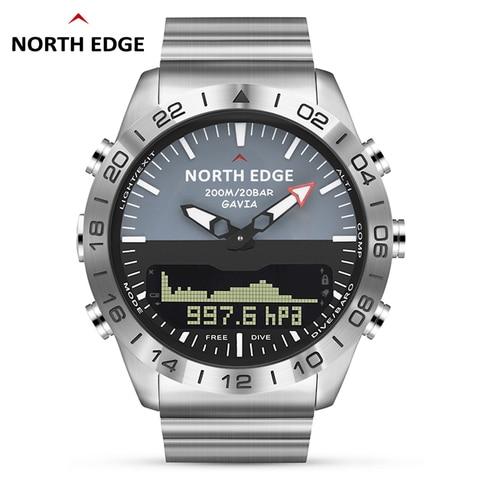 Esportes de Mergulho Digital dos Homens Militar do Exército Completo à Prova Homens Relógio Relógios Luxo Negócios Aço Dwaterproof Água 200m Altímetro Bússola Borda Norte Mod. 115623