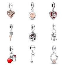 Original 925 Sterling Silver Beads Pendant Heart Shape Diy Key Apple For Women Diy Pandora Charm Bracelet Necklace kamaf 100% authentic 925 sterling silver heart shaped charm beaded bracelet diy necklace pendant