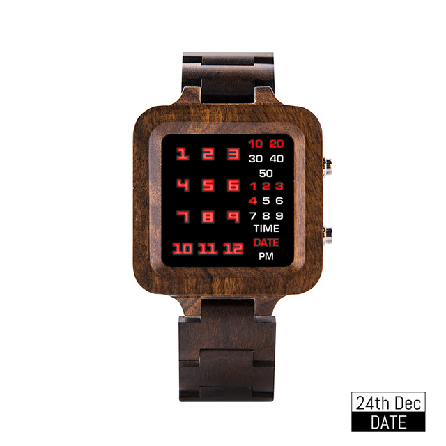 BOBO BIRD Digital Watch Men Luxury Brand Designe Night Vision Bamboo Watch Mini LED Watches Unique Time Display Gifts Dropship