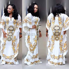 African Dresses for Women Dashiki Print Africa Clothes Bazin Broder Riche Sexy Family Slim Ruffle Sleeve Robe Evening Long Dress(China)