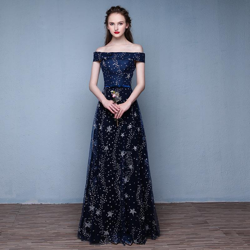 Fashion Navy Blue Star Evening Dresses Robe De Soiree Long Slim Party Prom Gown Plus Size Host Dress
