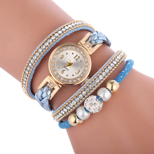 New fashion watch bracelets for women circle dial clock ladies woven crystal sim