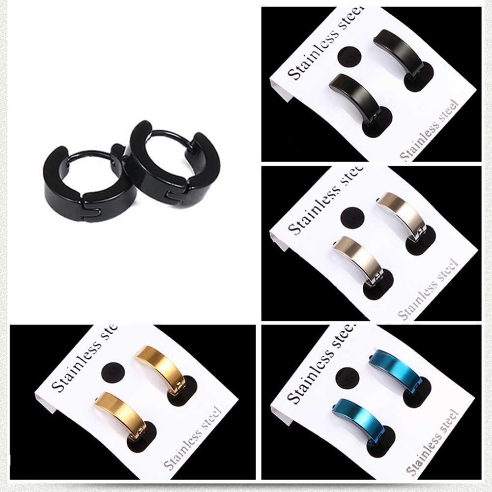 Kecil Anting Anting-Anting Perak Emas Stainless Steel Gelinding Anting-Anting untuk Wanita Pria Cincin Telinga Klip Berwarna Anting-Anting Lingkaran Anting-Anting Anting-Anting