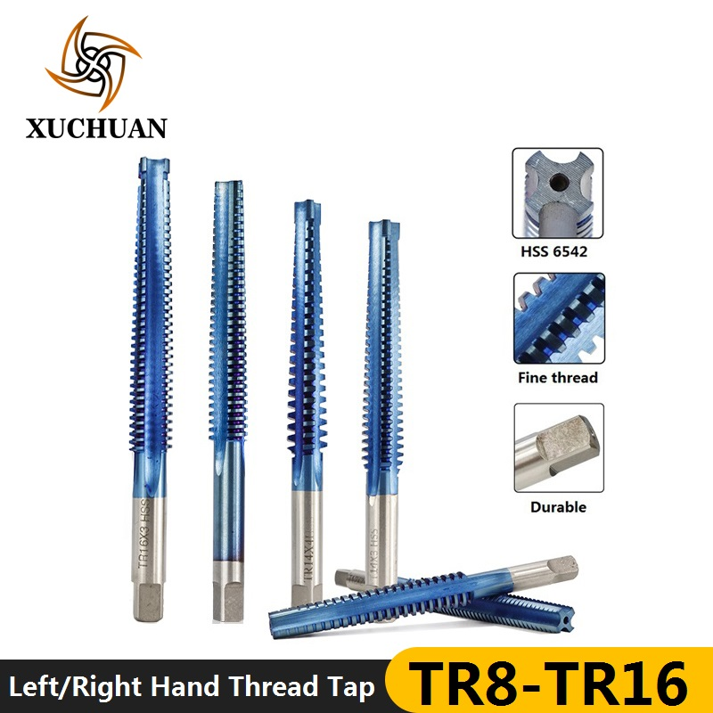 1pc HSS Trapezoidal Tap TR8/10/12/14/16 Screw Thread Tap Drill Bit Nano Blue Coated Left/Right Hand Machine Plug Tap