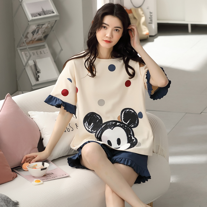 Cartoon pajamas set Women Sleepwear Pijama Cute Print Sweet Home Pyjamas suit Short Sleeve Ladies Lounge Wear T-shits Summer