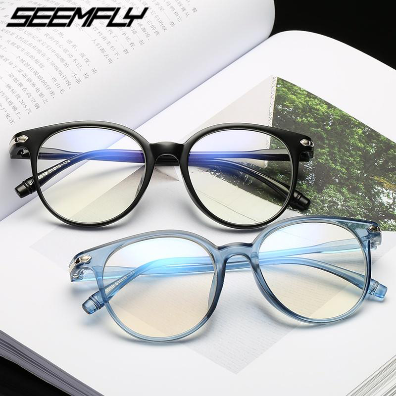 Seemfly Fashion Women Men Retro Round Transparent Glasses Frame Clear Lens Optical Spectacles Eyeglasses Frames Armacao De Oculo