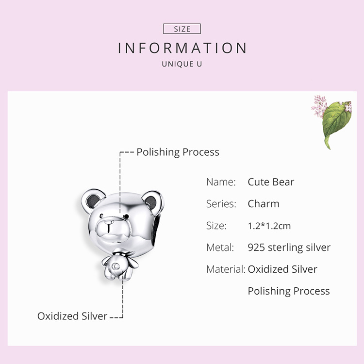 silver Bear Toy Beads for Women Jewelry Making 925 Sterling Silver Fashion DIY Jewelry Charm for Original Bracelet