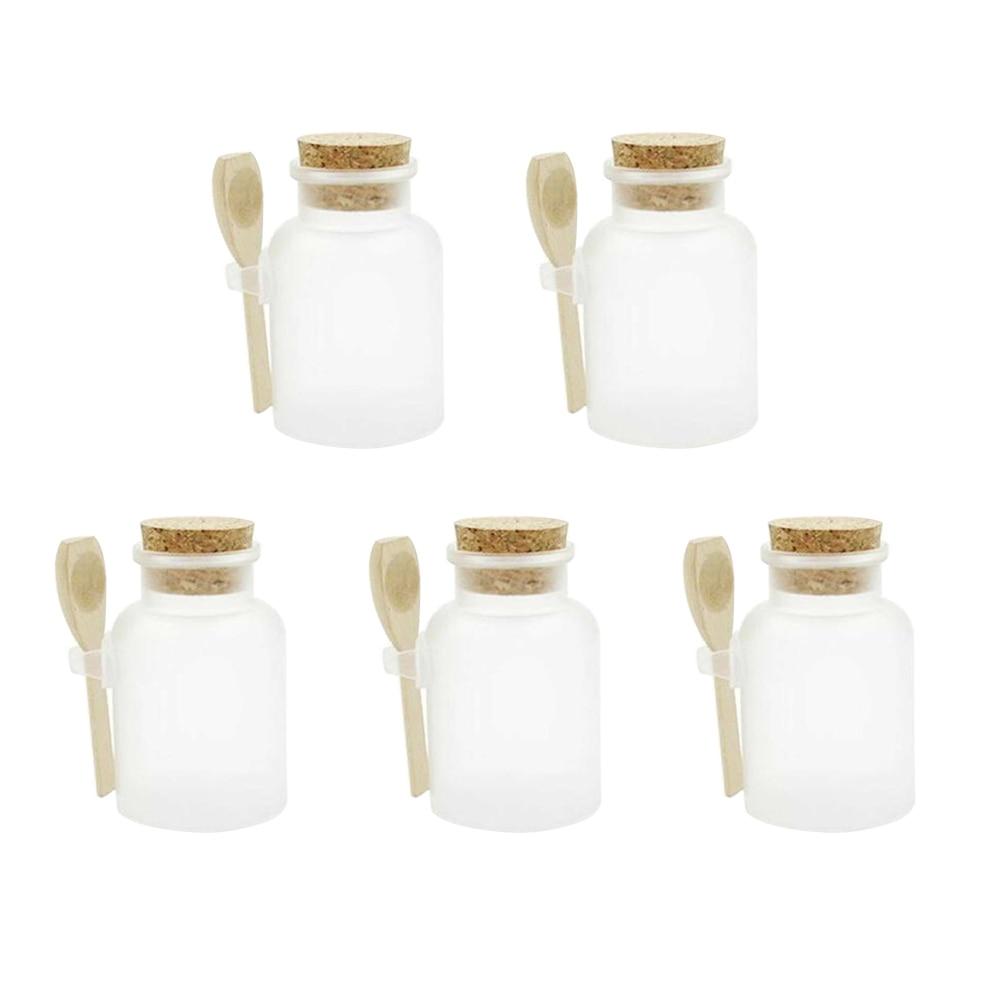 Scrub ABS Bath Salt Jars Cosmetic Mask Jar With Wood Spoon DIY Handmade Bath Salt Container Packaging Bottles