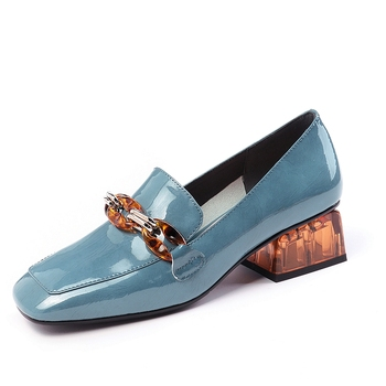 Fashion Women Pumps Spring Summer Chain High Heels Party Shoes Woman Genuine Leather Female Brand Prom Loafers - discount item  40% OFF Women's Shoes