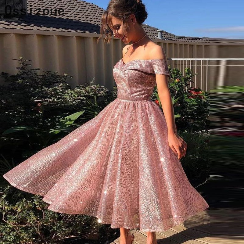 Blush Pink Cocktail Dresses Short Knee Length Sweetheart A Line Ruffles Homecoming Party Dress YSAN454