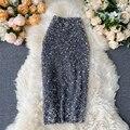Женские юбки-карандаш с блестками, элегантная облегающая юбка средней длины в Корейском стиле, Весенняя пикантная Женская трендовая облега...