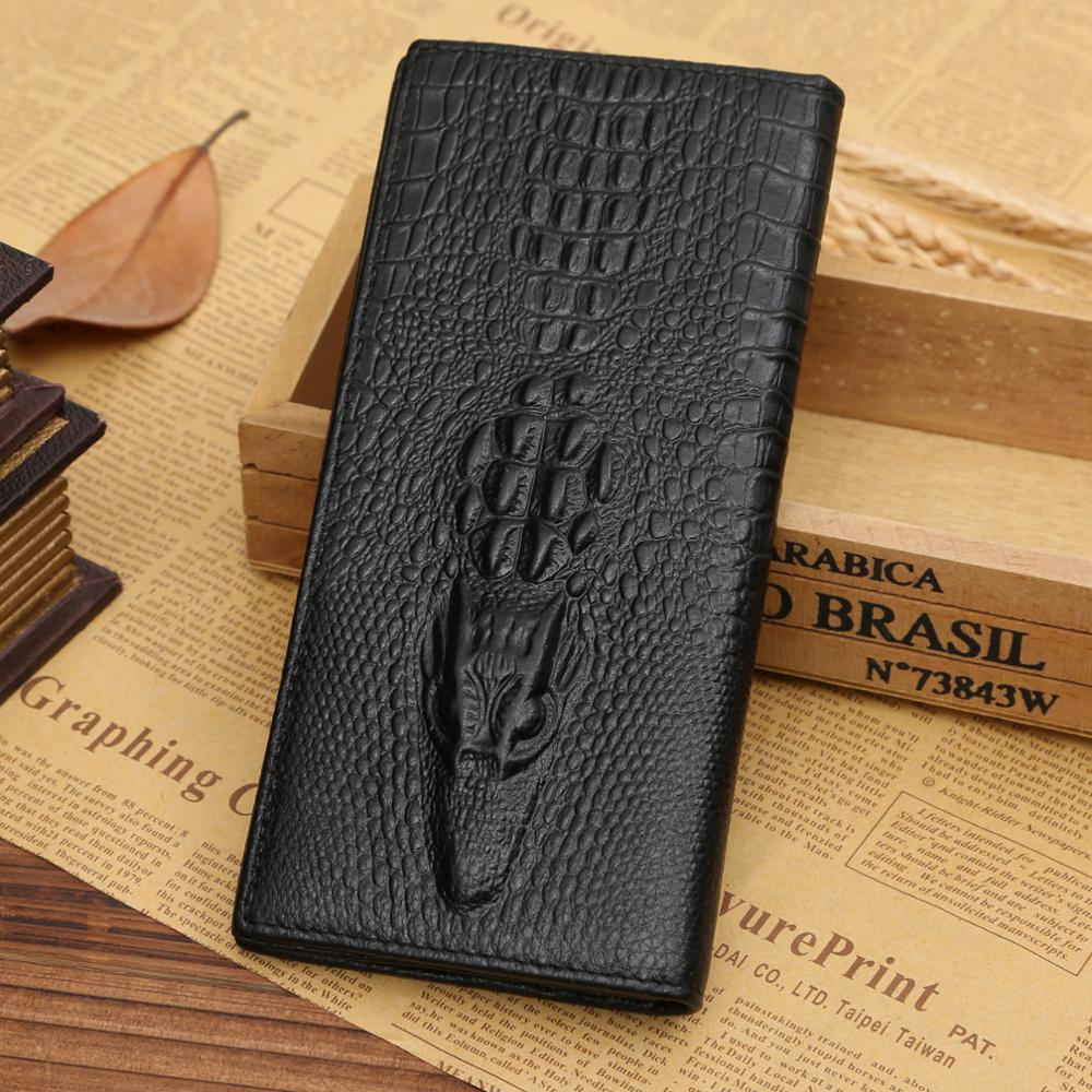 Genuine Leather Men Wallets Coin Pocket Real Men's Leather Short And Long Wallet Crocodile Head Quality Business Purse Cartera