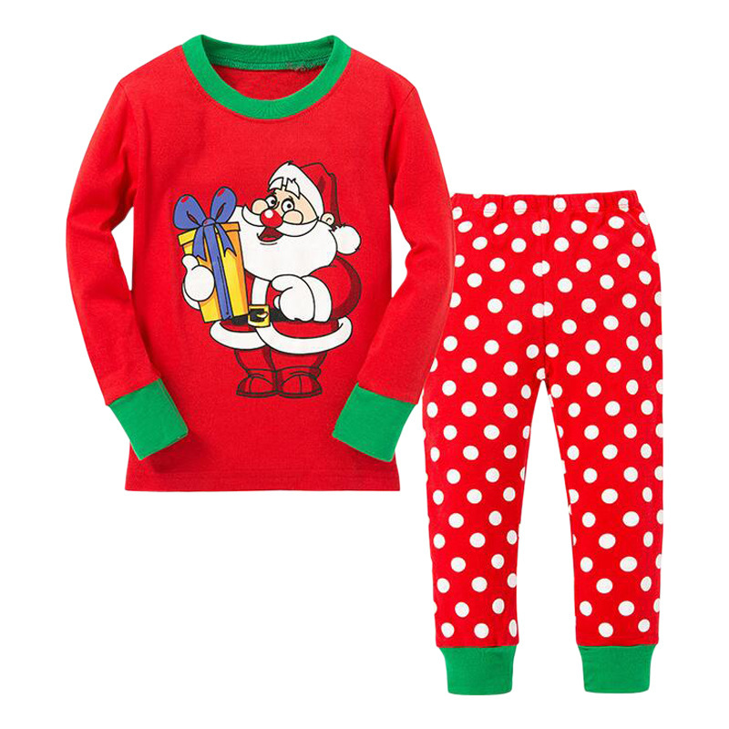 Women's Children Foreign Trade Europe And America Spring And Autumn Christmas Santa Claus Long Sleeve Dotted Home Wear CHILDREN'