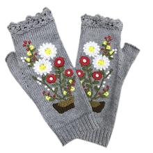 Vintage Knitted Gloves with Embroidery Floral Fingerless Warm Hand Warmer Mitten LX9E