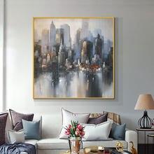 Abstrato 3d grande cidade cinza edifícios pintura a óleo 100% pintados à mão sobre tela moderna paisagem arte da parede para decoração casa