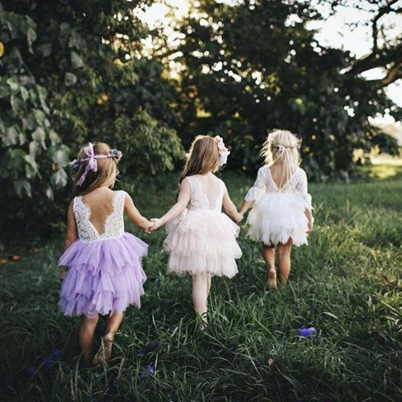 2019 Foreign Trade Girls Lace Children Shirt Puffy GIRL'S Gown Embroidered Princess Children Shirt Export Children Shirt