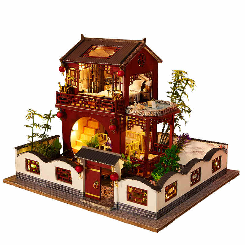 Doll House Furniture Diy Dollhouse Miniature Puzzle Assemble 3d Wooden Miniatures Dollhouse Educational Toys For Children Gift