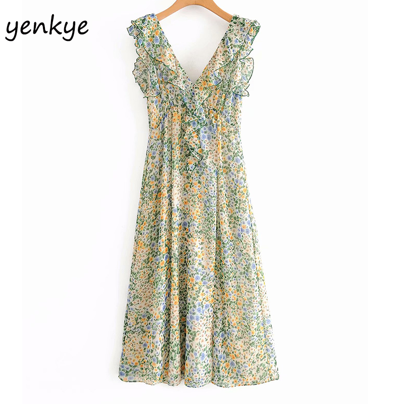 Floral Print Chiffon Long Dress Women Ruffle V Neck Sleeveless  A-line Tank Summer Dress Female Sexy Slits Holiday Boho Dress