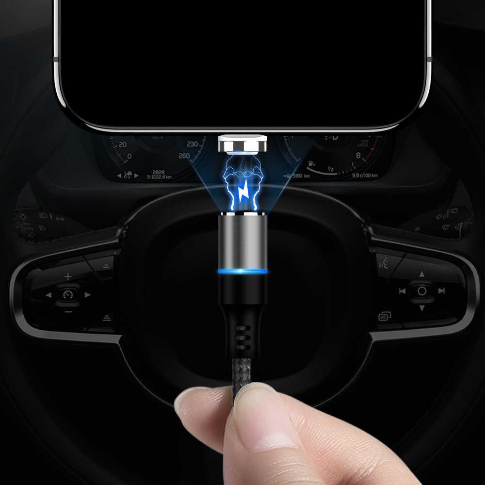 KISSCASE USB مغناطيسي صغير نوع-C كابل لسامسونج فون X 10 كابل LED المغناطيس مهايئ شاحن المصغّر usb نوع-C الهاتف الكابلات
