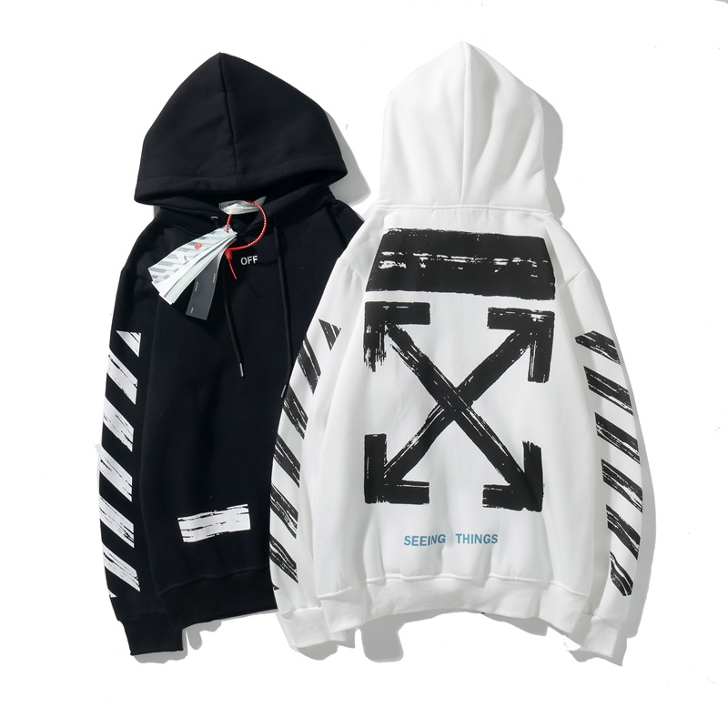 Popular Brand Off Base-Arrowhead Printed Ow Classic Hooded Loose-Fit Pullover Plus Velvet Hoodie Men And Women's Sweats & Hoodie