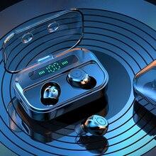 цена на Erilles mini bluetooth earphones wireless earphones stereo headset  earbuds charging box display touch bluetooth in-ear headset