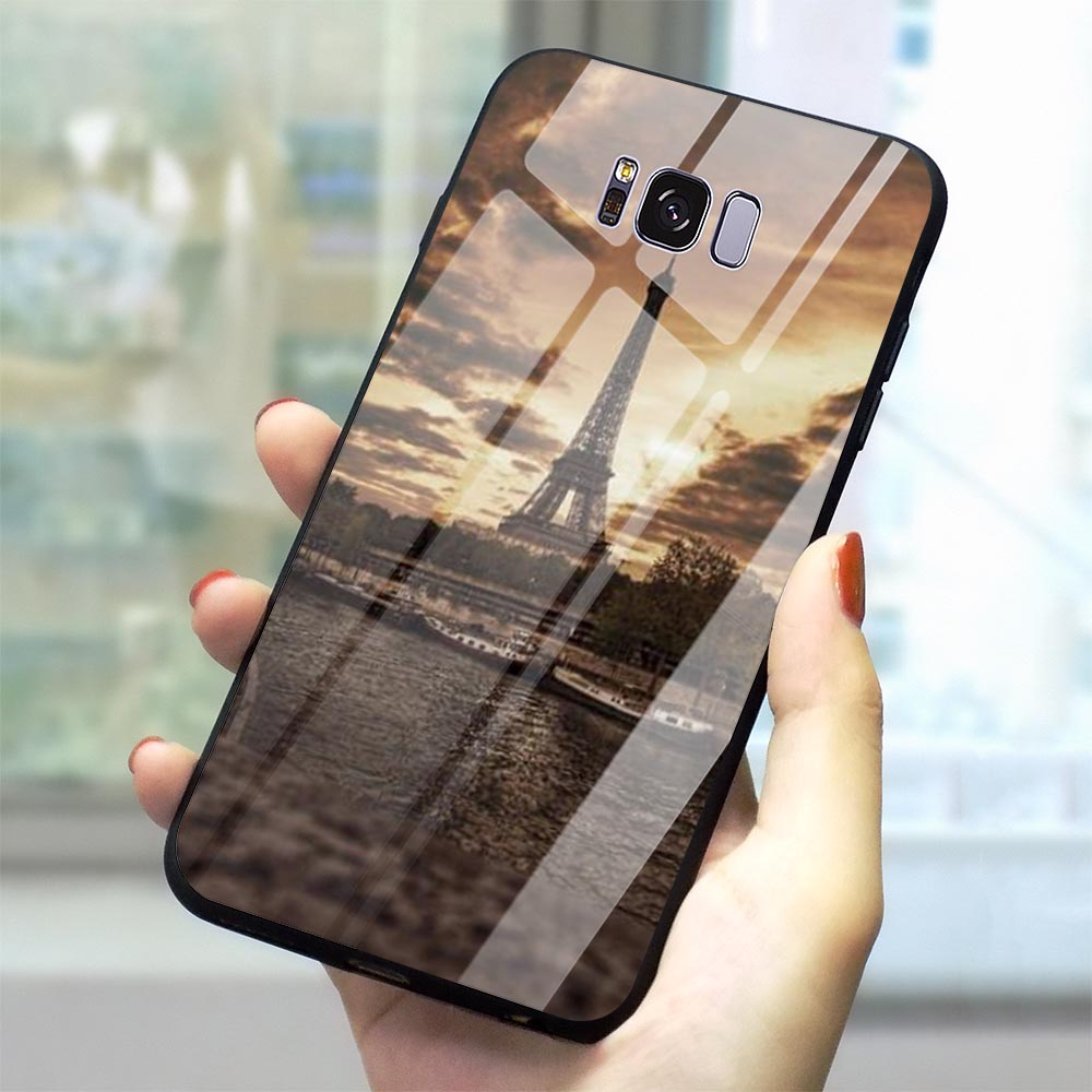Protective Eiffel Tower Glass Phone Cover for Samsung Galaxy A60 M40 Case A70 A50 A40 A20 A30 A10 S7 Edge S8 S9 Plus S10 image