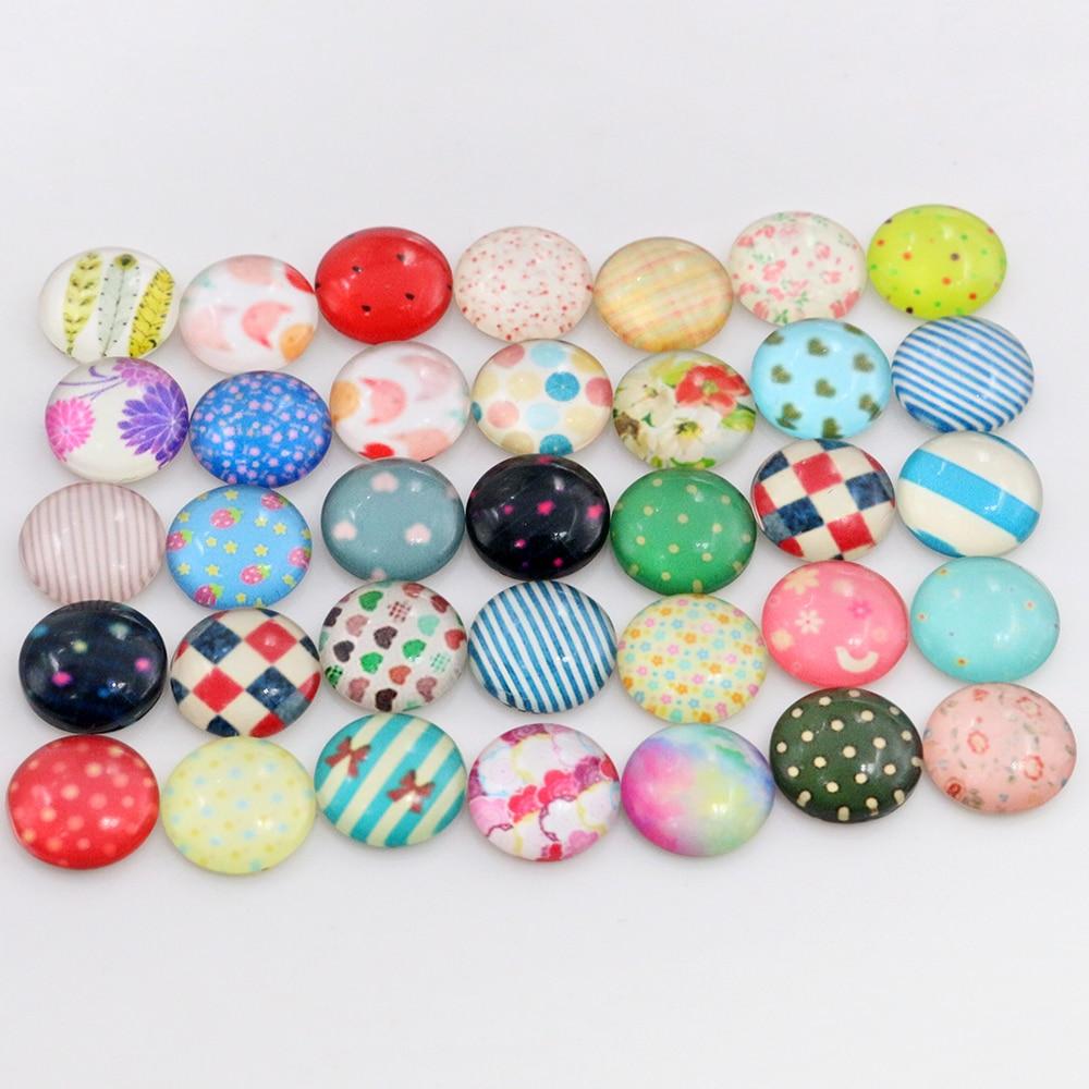Hot Sale 50pcs 12mm  Mixed Handmade Photo Glass Cabochons  (G2-14)
