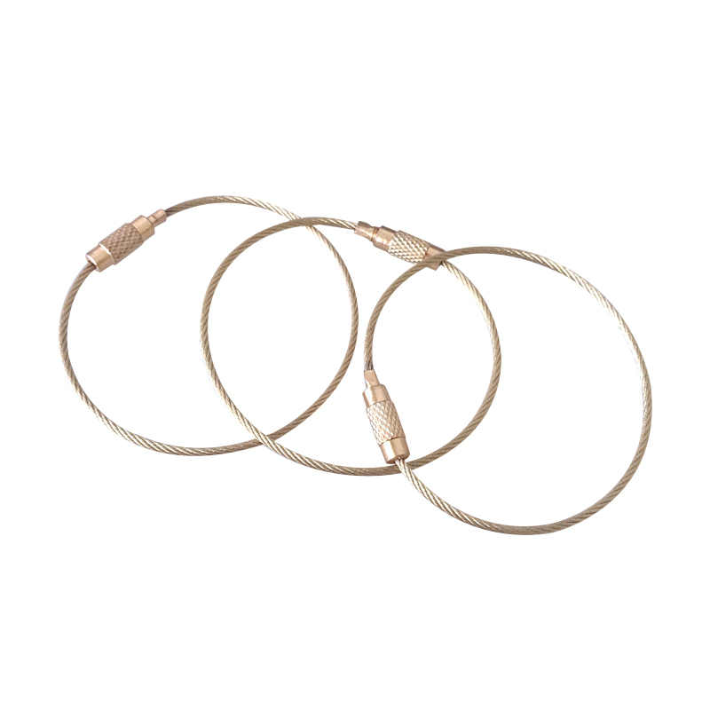 10x Gold Wire Chain Luggaga Tag,Stainless Steel Wire Cable Keychain Metal Luggaga Tag