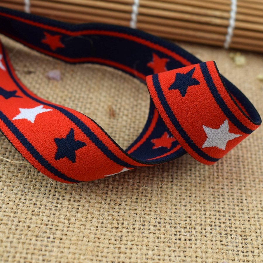 #342 Stars Ribbon Webbing Strap Trim Weave Lace Elastic Trim 2 Yards/lot Diy Clothes Underwear Hairbands