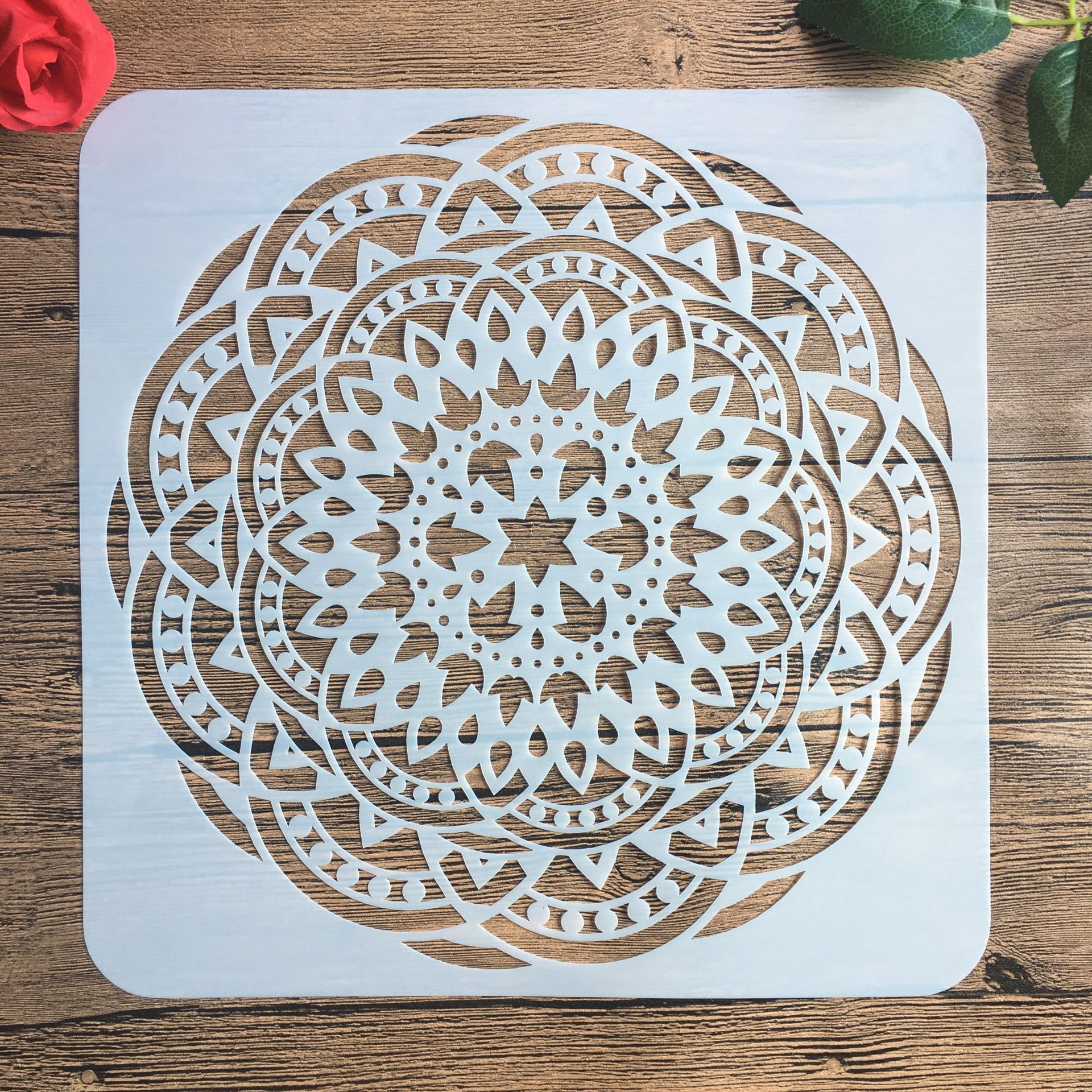 30 * 30 Cm Large Round Flower Mandala Diy Stencil Painting Scrapbook Coloring Engraving Album Decoration Template Stencil -b