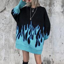 Alta rua chama jacquard solto pulôver casal camisola de malha hip-hop estilo mulher camisola 2021 nova camisola feminina