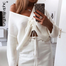 Cryptographic Sweater Women 2019 Loose Solid Casual Ruched Knitted Sweaters Long Sleeve Thin V-Neck Tops Fashion Pullover Autumn
