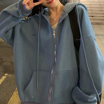 Женская толстовка на молнии в Корейском стиле, винтажная однотонная Толстовка с длинным рукавом и капюшоном большого размера, женские повседневные большие пальто|Толстовки и свитшоты|   | АлиЭкспресс