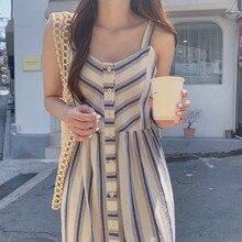 Women Summer Long Striped Shirt Dress Spaghetti Strap Vestid