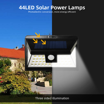 44 LED Solar Powered Lights Outdoor Motion Sensor Lamp with 3 Optional Lighting Modes, 270 Degree Angle for Garden Garage Porch image
