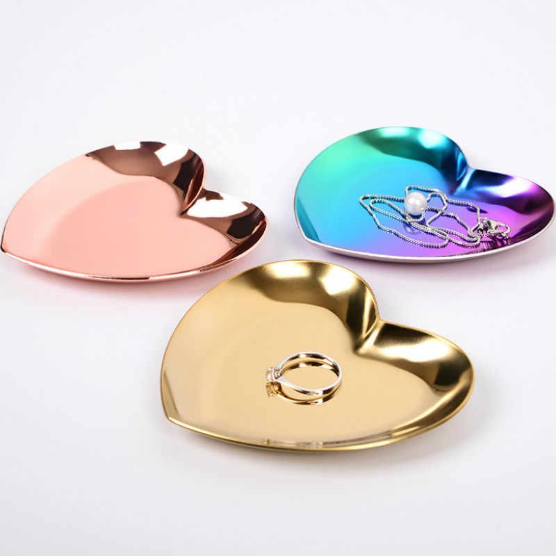 Berbentuk Hati Perhiasan Piring Nordic INS Emas Perhiasan Cincin Nampan Perhiasan Logam Penyimpanan Display Tray Dekoratif Cinta Plate