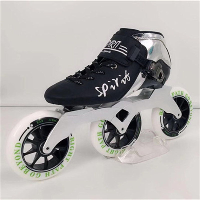 Carbon Fibre Inline Speed Skates Patines 3 4 Wheels Professional Race Shoes For Marathon Asphalt Ground Road Skating 85A30-45