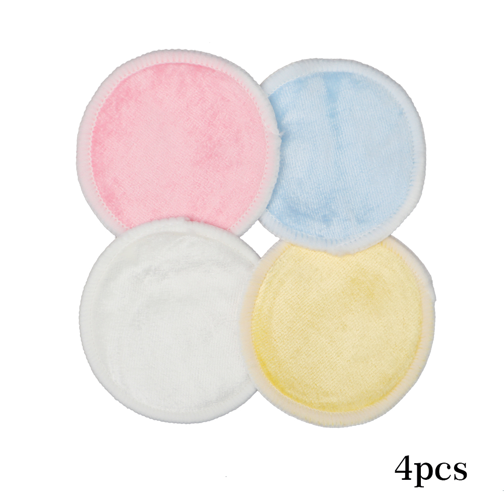 4pc Cotton Pad Reusable Breast Pads Nursing Waterproof Plain Washable Bamboo Pad Accessory Makeup Remover Clean Tool RandomColor